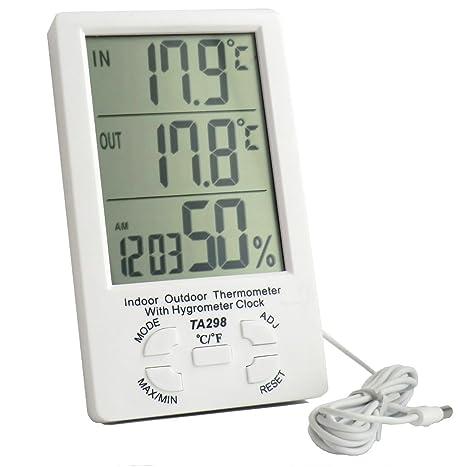 TERMOMETRO DIGITAL CON GRANDE LCD.ESTACION METEOROLOGICA CON SONDA EXTERIOR + reloj despertador digital