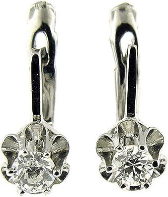14K White-Vintage-Style Key Design Earrings