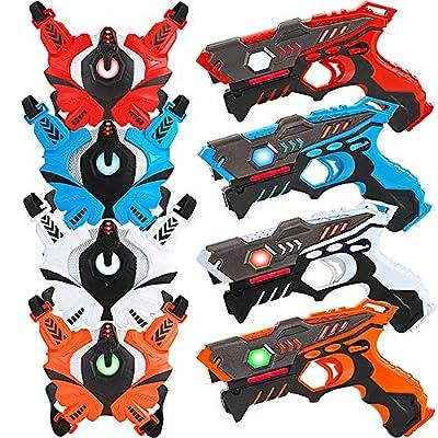 Laser Tag Guns Set with Vests, Infrared Guns Set of 4 Players