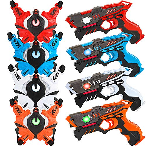 Laser Tag Guns Set with Vests, Infrared Guns Set of 4 Players