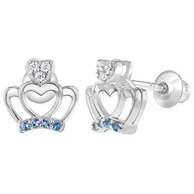 92ec416fc 925 Sterling Silver Blue Clear Cubic Zirconia Crown Princess Screw Back Earrings  for Girls: Amazon.co.uk: Jewellery