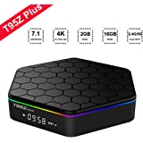 2018 Android TV Box T95Z Plus Octa-Core Android 7.1 TV Box with 2GB RAM 16GB ROM Amlogic S912 64 Bits CPU Supporting 4K Ultra HD/Bluetooth 4.0/Dual Band WiFi 2.4G/5G Smart TV Boxes