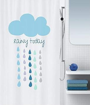 Azul Spirella colecci/ón Waterdrop 100/% Polyester Cortina de Ducha Textil 180 x 200