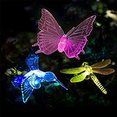 VIBELITE Solar Garden Lights Outdoor,Solar Garden Multi-Color Changing Stake Lights, Decorative Lights Hummingbird Butterfly Dragonfly for Path, Yard, Lawn, Patio Set of 3