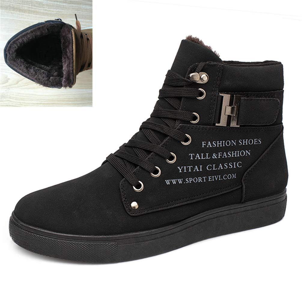 Hombres Zapatos Moda Calzado OtoñO Cuero Piel Caliente Invierno Hombre Botas para Hombre Zapatos Ocasionales De Alto Lona Superior