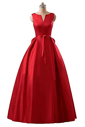 Chugu Womens Evening Formal Dresses A Line Backless Long Prom Dress Red 2