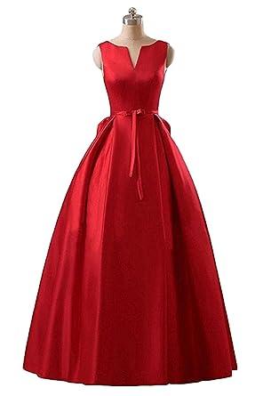 Chugu Womens Evening Formal Dresses A Line Backless Long Prom Dress Red 2