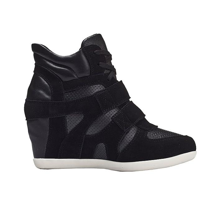 Generic Mujer Zapatos Formal Oculto Tacón Cuña Cuero Zapatillas (Gris, EU36)