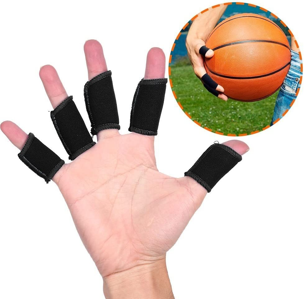 Yosoo 5Pcs Finger Protector Sleeve Stretch Elastic Finger Support Sports Aid Support Sport Finger Joint Protector