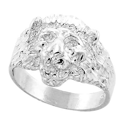 26dbf5ae7 Amazon.com: Sterling Silver Lion Ring Diamond Cut Finish 1/2 inch ...