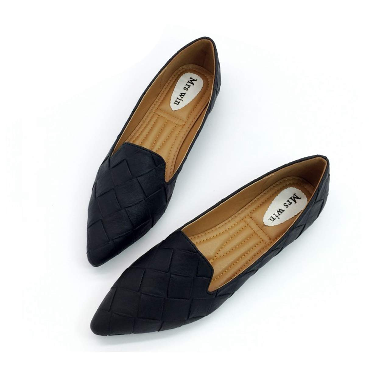 Owen Moll Women Flats, Vintage Autumn Loafers Pointed Toe Slip On Shoes for Woman