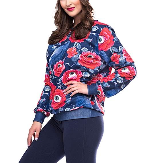 Amazon.com: kaifongfu Halloween Shirt,Women Long Sleeve Halloween Crow Print Blouse Sweatshirt: Clothing
