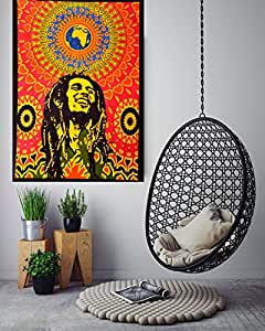 "ANJANIYA Bob Marley Beautiful Bohemian Room Dorm Decor Hippie Small Boho Rasta Tapestry Poster Size 40""x30"" Psychedelic Reggae Tapestries Wall Art Hanging Cotton Gypsy Posters (Bob Marley Laughing)"