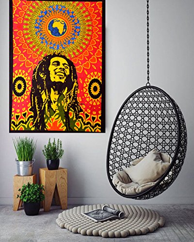 ANJANIYA Bob Marley Beautiful Bohemian Room Dorm Decor Hippie Small Boho Rasta Tapestry Poster Size 40″x30″ Psychedelic Reggae Tapestries Wall Art Hanging Cotton Gypsy Posters (Bob Marley Laughing)