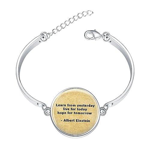 c9372bca8e4fc Amazon.com: LooPoP Simple Stainless Bangle Bracelet Albert Einstein ...