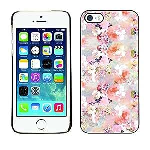 TopCaseStore / la caja del caucho duro de la cubierta de protección de la piel - Flowers Blossoms White Pink Wallpaper - Apple iPhone 5 / 5S