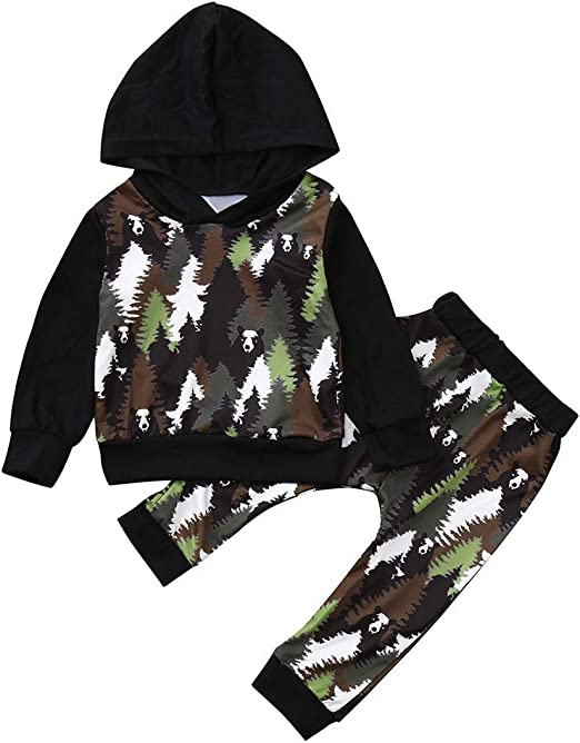 LNGRY 2Pcs Infant Baby Boy Girl Summer Camouflage Hooded Tops+Shorts Outfits Set