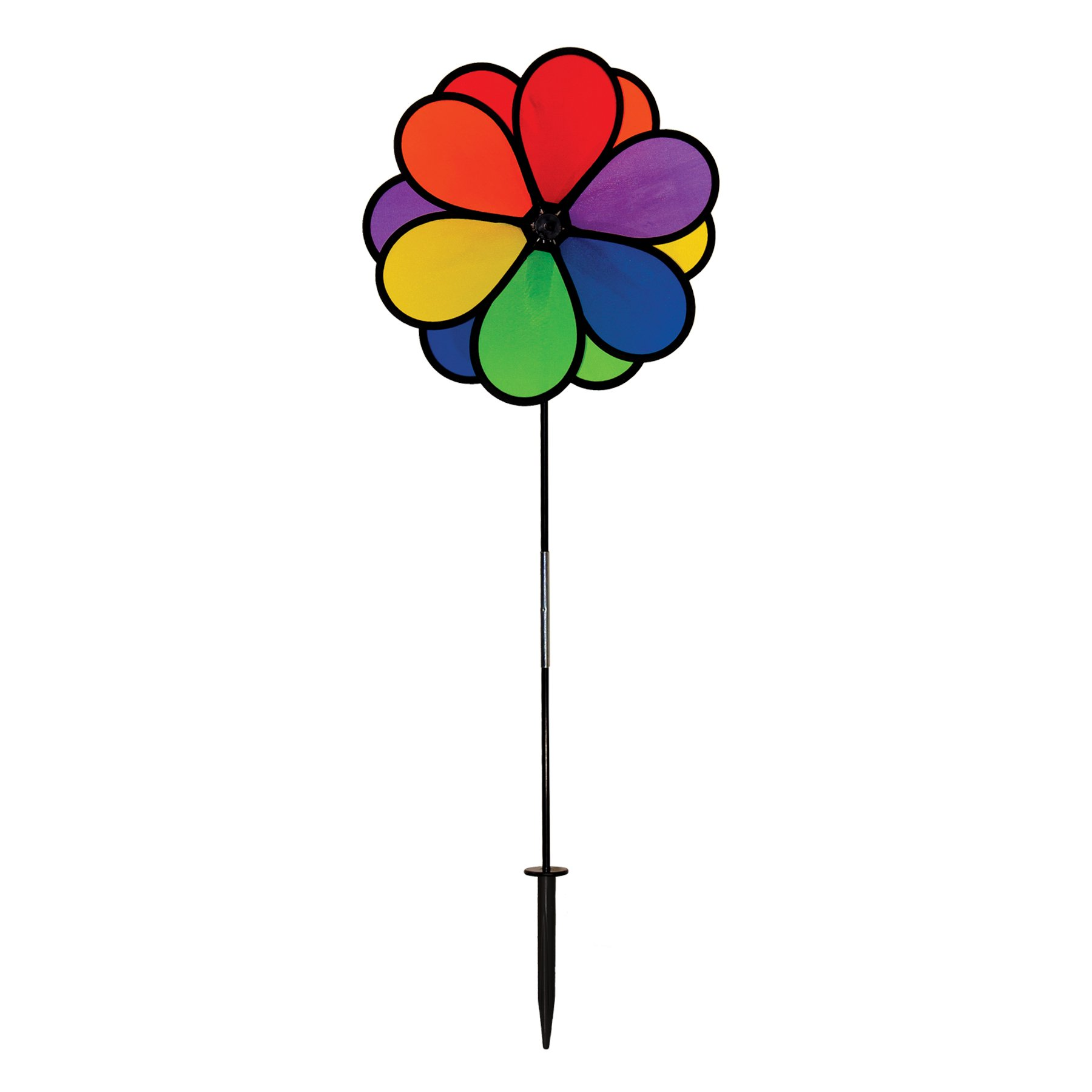 In the Breeze 14 Inch Rainbow Double Dazy Flower - Colorful Wind Spinner for your Yard and Garden