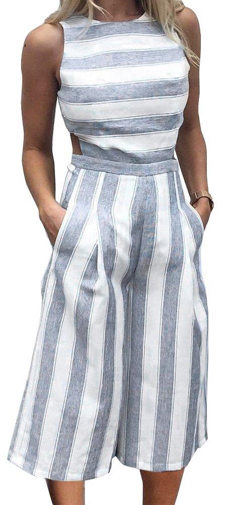 FANCYINN Women Striped Wide Leg Long Jumpsuit Romper High Waist Playsuit Office Wear Blue L