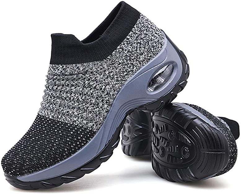 9. Slow Man Women's Walking Shoes Sock Sneakers Mesh Slip-On Air