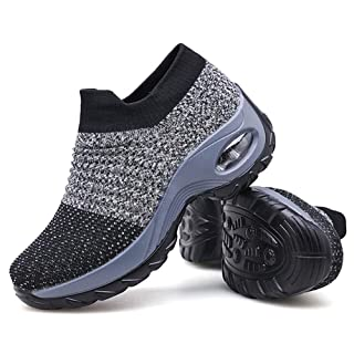 Women's Walking Shoes Sock Sneakers - Mesh Slip On Air Cushion Lady Girls Modern Jazz Dance Easy Shoes Platform Loafers Grey,6.5