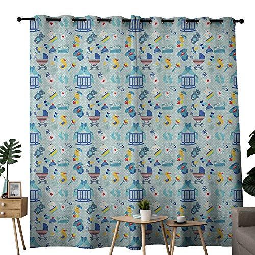 NUOMANAN backout Curtains for Bedroom Baby,Newborn Sleep Crescent Moon Pacifier Nursery Star Polka Dots Image, Pale and Violet Blue Yellow,Pocket Thermal Insulated Tie Up Curtain 84