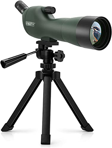 Emarth 20-60x60AE Waterproof Angled Spotting Scope with Tripod, 45-Degree Angled Eyepiece, Optics Zoom 39-19m 1000m for Target Shooting Bird Watching Hunting Wildlife Scenery 20-60×60 Green