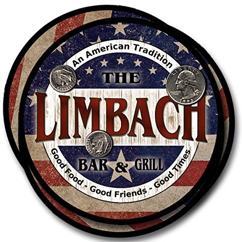 Limbach Bar And Grill Rubber Drink Coasters   4 Pack