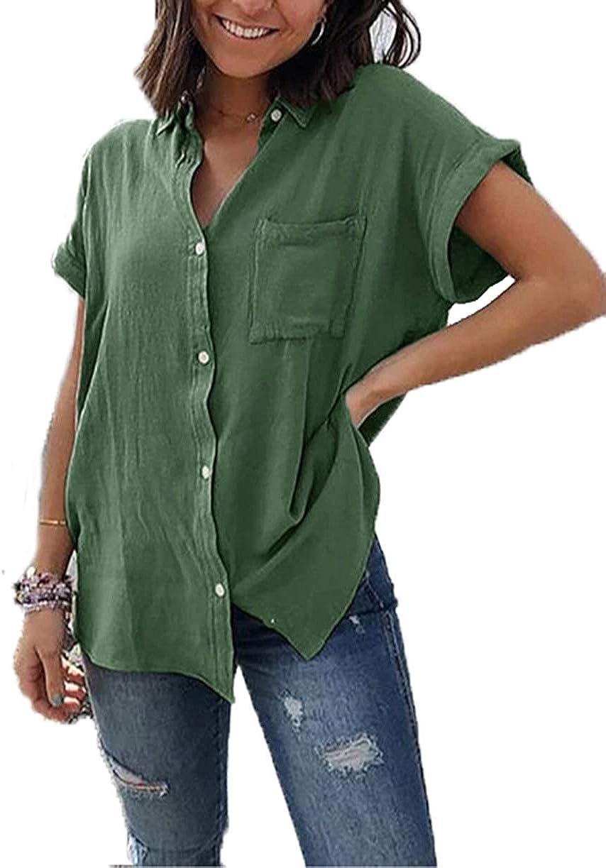 Yutila Damen Sommer Kurzarm Blusen Button Down hemdbluse Casual Shirt