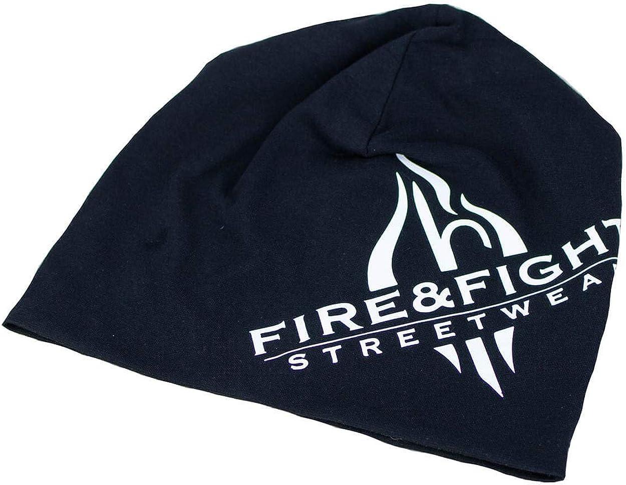 FIRE /& FIGHT Streetwear Jersey-Beanie Black