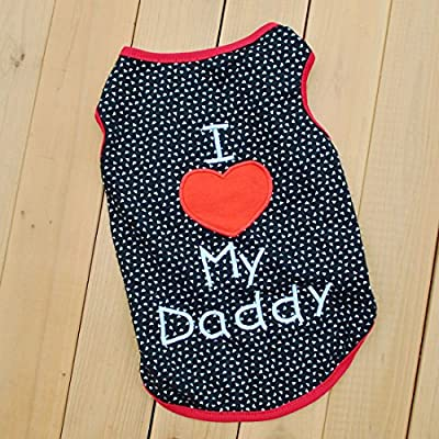 Summer Apparel Puppy Dog dog pet clothes i love my daddy dots print vest sleeveless dog t-shirts apparel