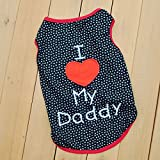 Summer Apparel Puppy dog pet clothes i love my daddy dots print vest sleeveless dog t-shirts apparel