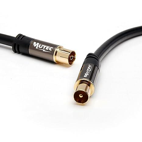 MutecPower 1m de Cable para TV/AV Antena coaxial Macho a Hembra coaxial Pair: Amazon.es: Electrónica
