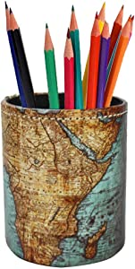 LIZIMANDU PU Leather Pencil Pen Holder,Round Pencil Cup Stationery Desk Organizer Control Storage Box for Home Office Bedroom(1 Pack,1-Vintage Map)