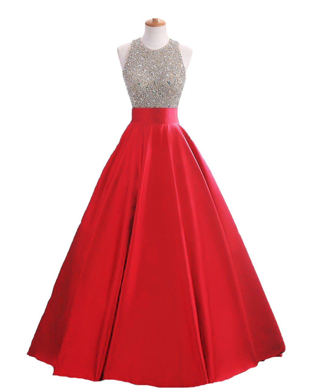 HEIMO Women's Sequins Keyhole Back Evening Ball Gown Beaded Prom Formal Dresses Long H095 6 Red