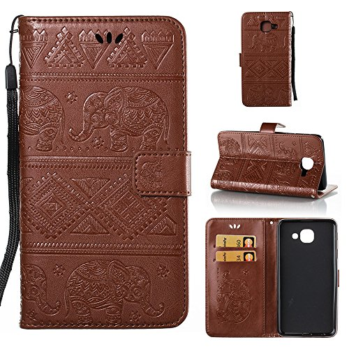 (Galaxy J7 Max [SM-G615F] Wallet Case, ESSTORE Retro Elephant PU Leather Protective Covers with Card Slot Holder Wallet Case for Samsung Galaxy J7 Max [SM-G615F], Brown)