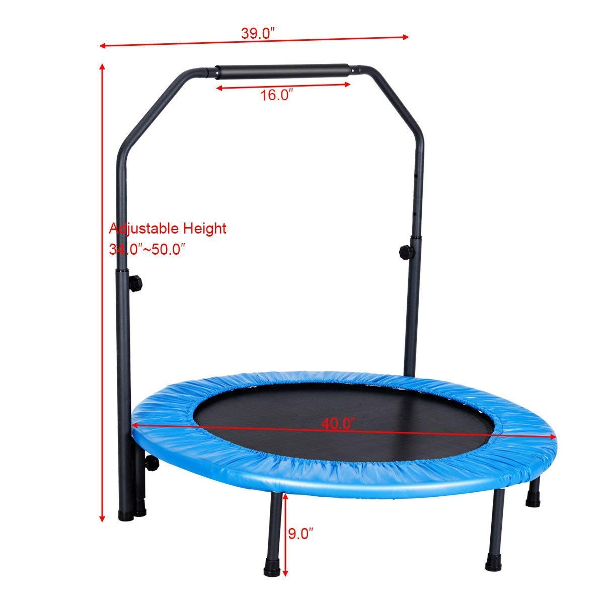 GYMAX Mini Trampoline, Rebounder Exercise Trampoline for Outdoor Indoor Fitness Workout, with Handle Rail by GYMAX (Image #3)