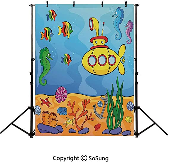 10x10FT Vinyl Photography Backdrop,Underwater,Swordfish with Seahorse Background Newborn Birthday Party Banner Photo Shoot Booth