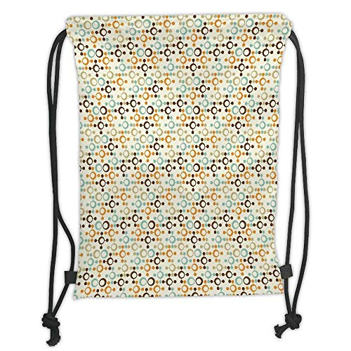 New Fashion Gym Drawstring Backpacks Bags,Abstract,Funky Molecule Like Figures with Circles and Dots Science Lab Theme,Orange Silver Light Blue Soft Satin,Adjustable String Closur
