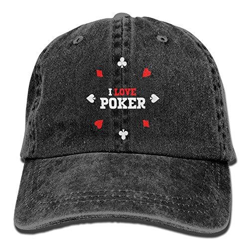 Poker Cotton Hat - ICESALT Unisex Adult I Love Poker Adjustable Cotton Denim Baseball Cap Hat