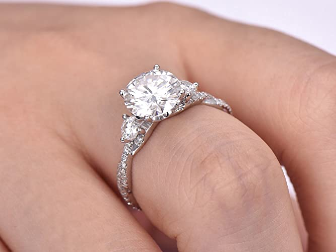 Amazon.com  Round Moissanite Engagement Ring Infinite Love Diamond Band 14K  White Gold 8.5mm  Handmade db7443d618f6