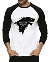 Fanideaz Cotton Winter is Coming Wolf Game Of Thrones Full Sleeve Raglan T Shirt For Men