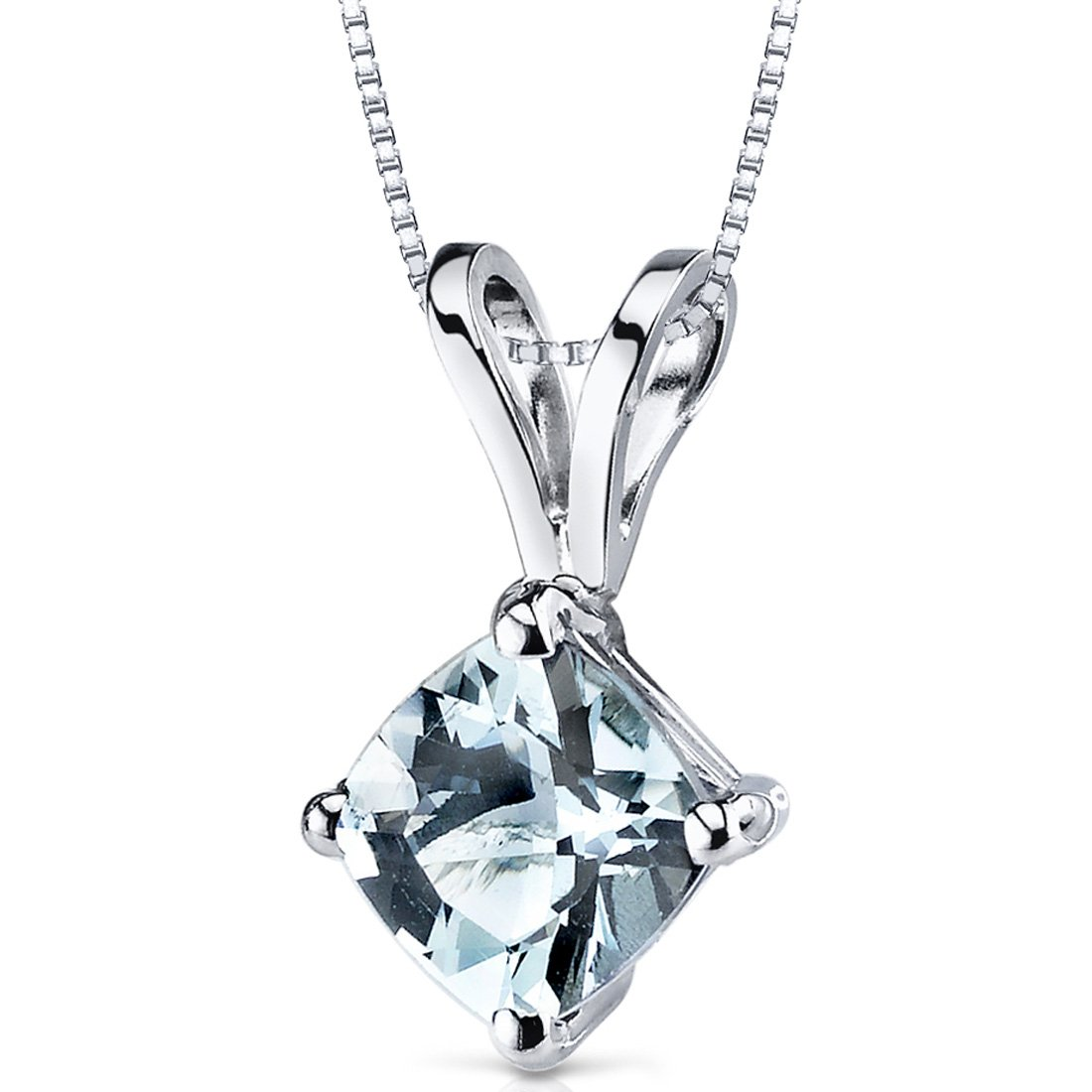 14 Karat White Gold Cushion Cut 0.75 Carats Aquamarine Pendant