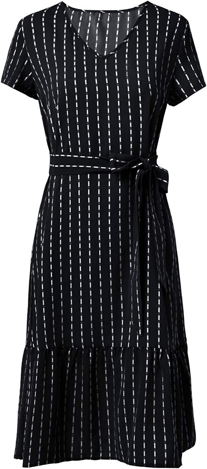 Fleur Wood Women's Summer Casual Short Sleeve V Neck Striped Fit and Flare A-Line Ruffle Midi Dress with Tie Waist Belt