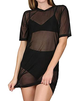 Zanzea Womens Sexy Black Shirt Long Sleeve Mesh Top Sheer See