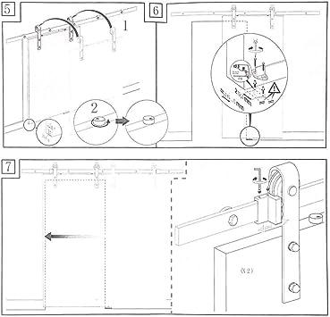 6FT / 6,6FT Herraje para Puerta Corredera Kit de Accesorios para ...