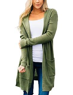 MEROKEETY Women s Long Sleeve Open Front Hoodie Knit Sweater Cardigan with  Pockets 3b6fe1a34