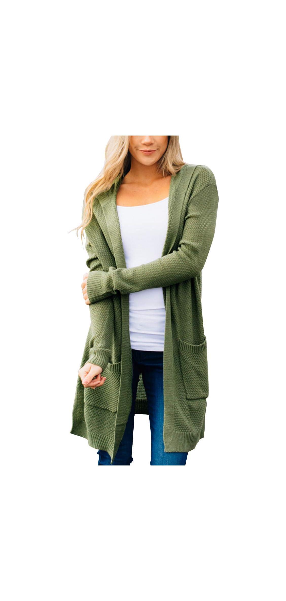 Women's Long Sleeve Open Front Hoodie Knit Sweater