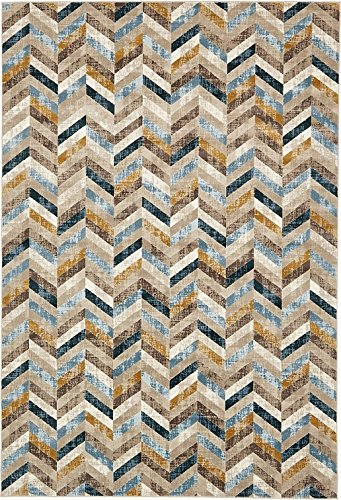 Unique Loom Mirage Collection Dark Blue 7 x 10 Area Rug (7' x 10') (Gold And Area Gray Rugs)