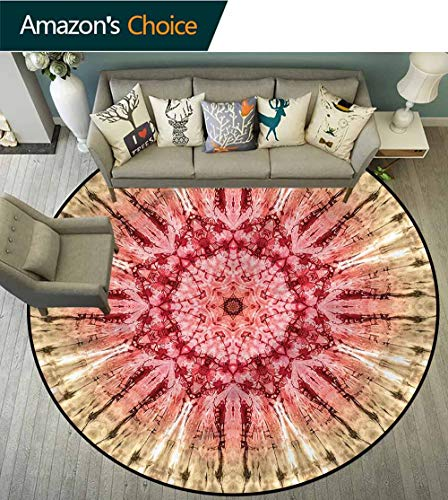 RUGSMAT Batik Modern Flannel Microfiber Round Area Rug,Batik Hippie Red Brown Foam Mat Living Room Decor Diameter-47 ()
